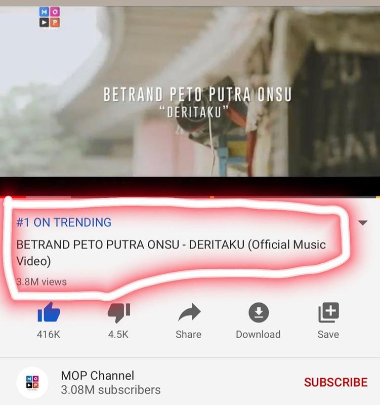 Video clip Betrand Peto trending di Youtube