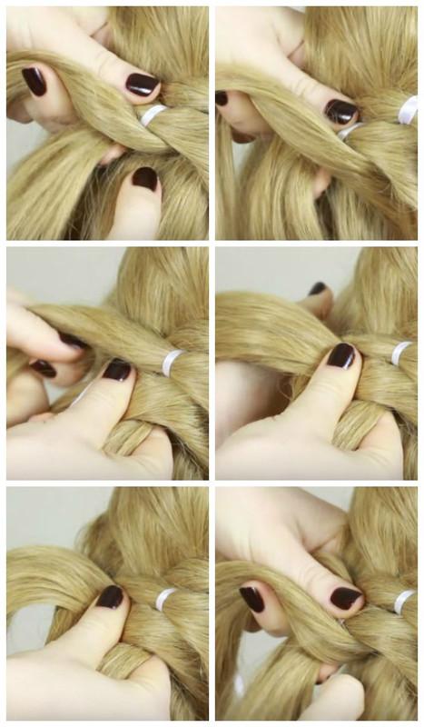 Прически с плетением на длинные волосы для девочек и женщин.</div> <div> Как плести пошагово своими руками. Фото» /></div> <p> <em>В окончании плетения немного вытягиваем петли у косички.</em> </p> <div style=