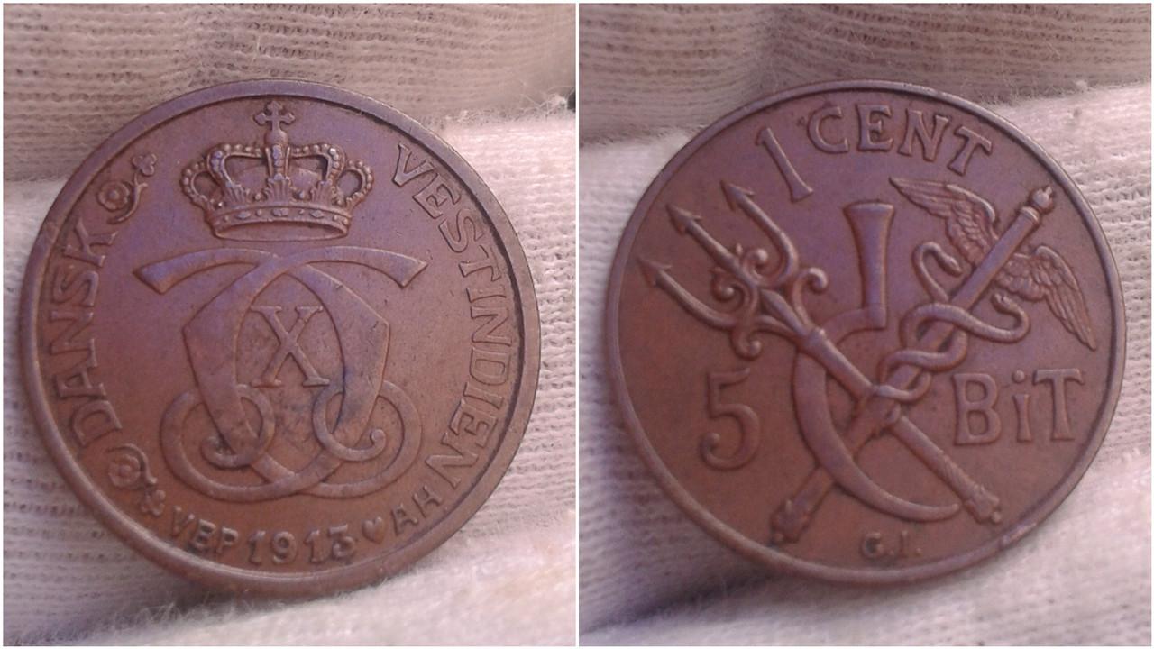 5 Bit (1 Cent) de 1913. Indias Orientales Danesas Polish-20200906-163026520