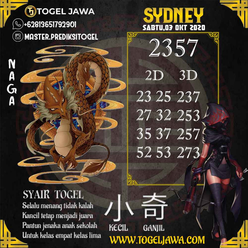 Prediksi Sydney Tanggal 2020-10-03