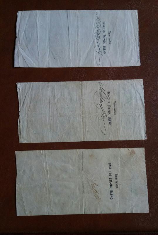 Diferentes antefirmas Billetes del Banco de España en Bilbao (1937) 201963-132321953